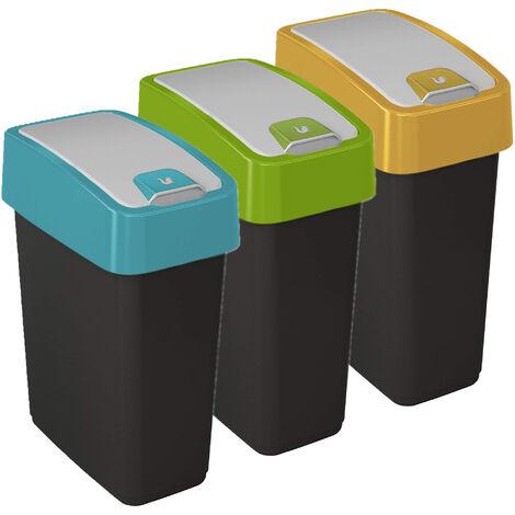 Lot de 3 poubelles Premium Magne avec couvercle rabattable, Soft Touch 10 litres avec couvercle en différentes couleurs