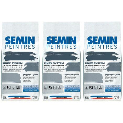 Lot de 3 reboucheurs extérieur Semin - enduit de réparation, rebouchage, réparation et lissage - très forte adhérence - sac de 5 kg