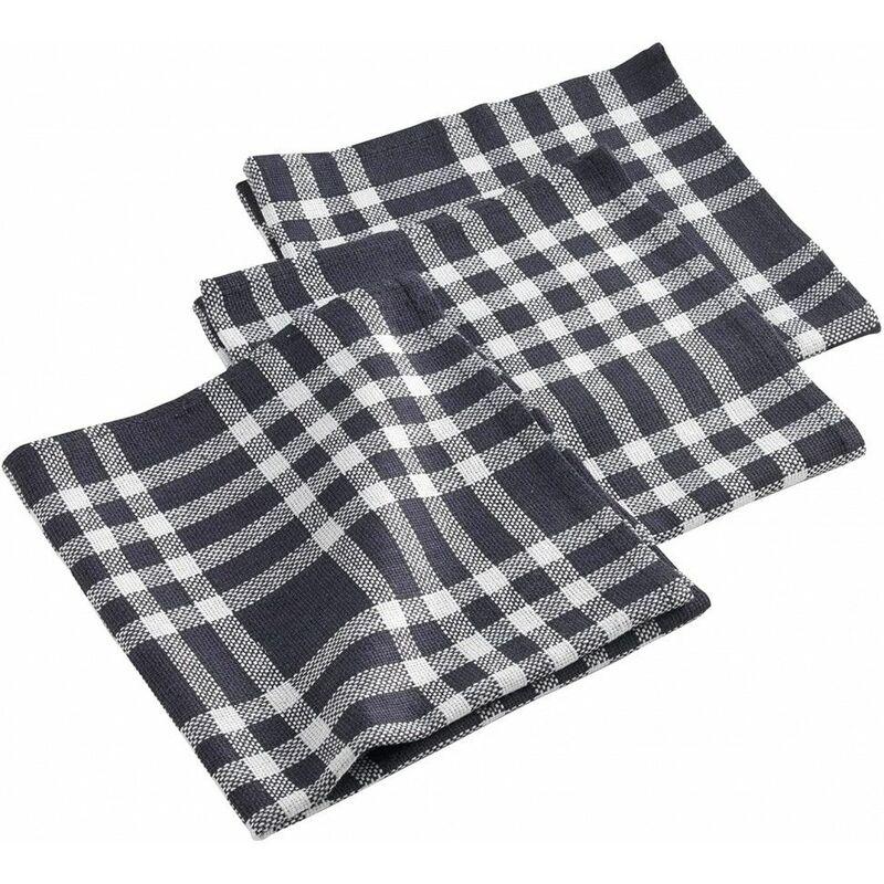 Douceur D'intérieur - Lot de 3 serviettes de table coton imprimées Traditio - 40 x 40 cm - Livraison gratuite