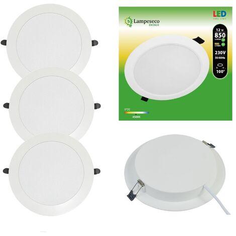 Lot de 3 Spot Encastrable LED Downlight Panel Extra-Plat 12W Blanc Froid 6000K