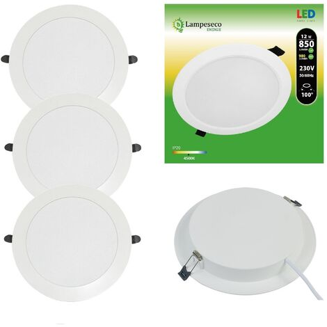 Lot de 3 Spot Encastrable LED Downlight Panel Extra-Plat 12W Blanc Neutre 4200-4500K