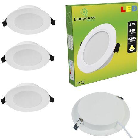 Lot de 3 Spot Encastrable LED Downlight Panel Extra-Plat 3W Blanc Neutre 4200-4500K