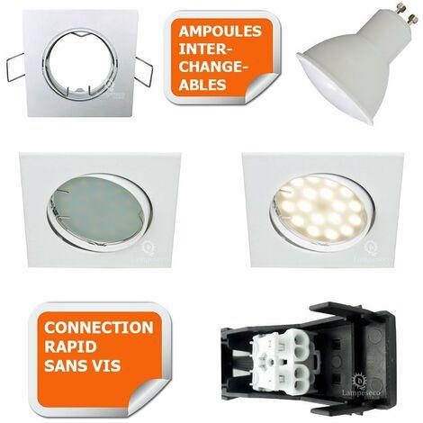 LOT DE 3 SPOT ENCASTRABLE ORIENTABLE LED CARRE GU10 230V eq. 50W BLANC NEUTRE