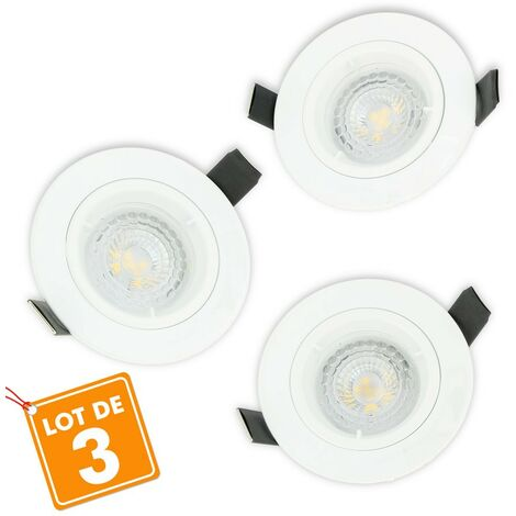 Lot de 3 Spot LED encastrable complet 1/4 de tour Blanc Fixe avec Ampoule GU10 5W
