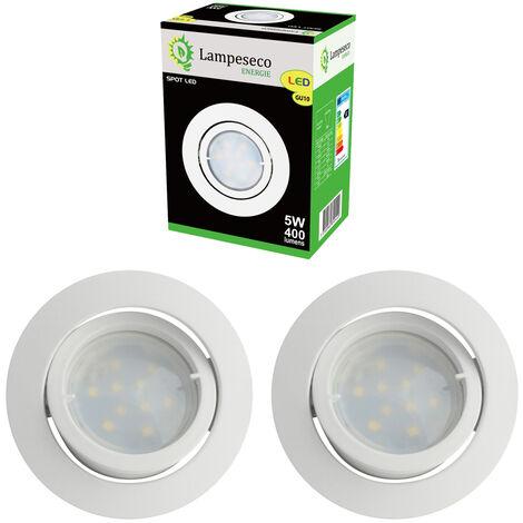 Lot de 3 Spot Led Encastrable Complete Blanc Orientable lumière Blanc Chaud eq. 50W ref.193