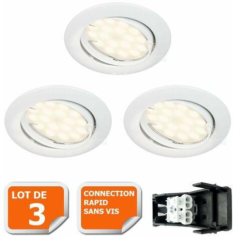 360267daabe20 LOT DE 3 SPOT LED ENCASTRABLE COMPLETE ORIENTABLE BLANC AVEC AMPOULE GU10  230V eq.