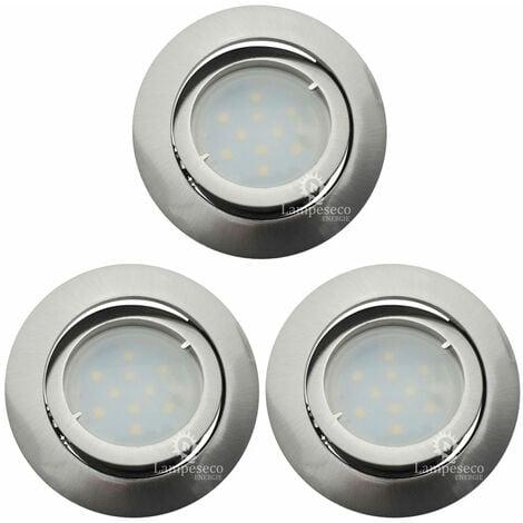 Lot de 3 Spot Led Encastrable Complete Satin Orientable lumière Blanc Chaud eq. 50W ref.209