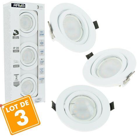 Lot de 3 Spot LED encastrable plafond complet Blanc Orientable avec Ampoule GU10 5W | Température de Couleur: Blanc chaud 3000K