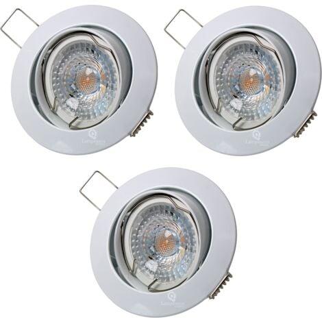 LOT DE 3 SPOT LED RONDE BLANC ORIENTABLE 38° BLANC CHAUD