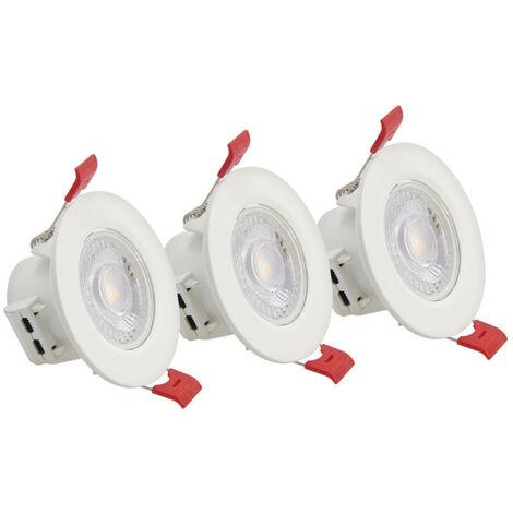 Lot de 3 spots à LED intégrés - 345 lumens - blanc chaud