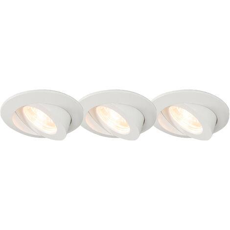 Lot de 3 spots encastrables avec LED IP44 - Relax LED Qazqa Moderne Luminaire exterieur Luminaire interieur IP44 Rond