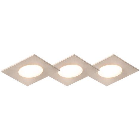 Lot de 3 spots encastrables carré acier avec LED IP65 - Simply Qazqa Moderne Luminaire exterieur Luminaire interieur IP65 Carré