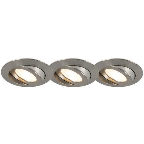 Lot de 3 spots encastrables en acier avec LED IP44 - Relax LED Qazqa Moderne Luminaire interieur IP44 Rond