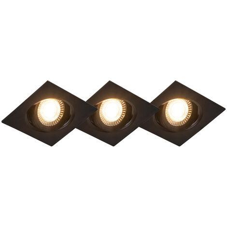 Lot de 3 spots encastrables noir avec LED dimmable en 3 étapes - Miu Qazqa Moderne Luminaire interieur