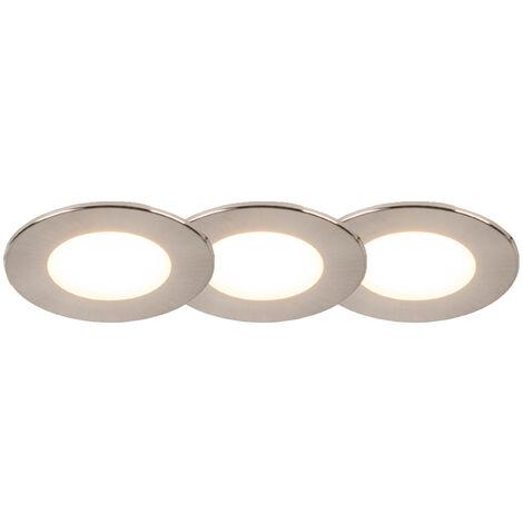 Lot de 3 spots encastrables ronds en acier avec LED IP65 - Simply Qazqa Moderne Luminaire exterieur Luminaire interieur IP65