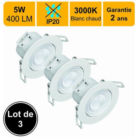 LOT DE 3 SPOTS LED ENCASTRABLE ORIENTABLE 5W (EQUIV. 50W) 400 LM BLANC CHAUD (3000K) IP20