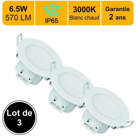 LOT DE 3 SPOTS LED ENCASTRABLE - SPECIAL SALLE DE BAIN - 6.5W (EQUIV. 50W) 500 LM BLANC CHAUD (3000K) IP65