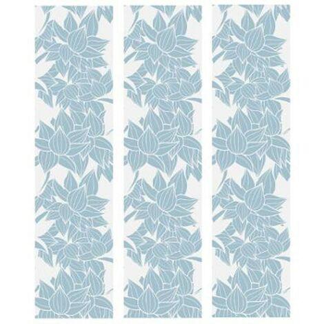 Lot de 3 Stickers de Tiroirs Fleurs 22x80cm Bleu