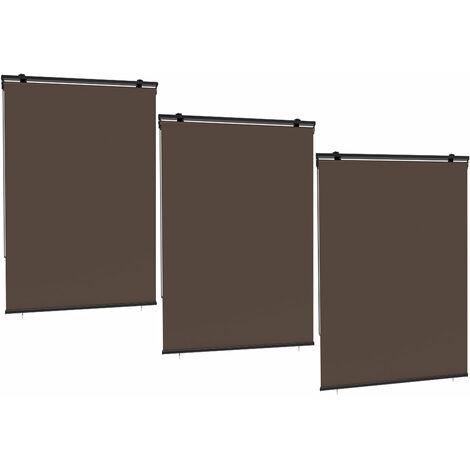Lot de 3 stores enrouleur HOUSTON taupe en polyester 120x225 cm