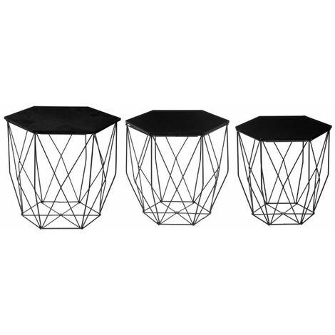 Lot de 3 Tables à Café Design Kumi 45cm Noir