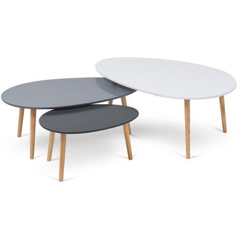 Lot de 3 tables basses gigognes laquées blanc / gris scandinave