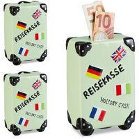 Lot de 3 Tirelires Valise, Boîte épargnes Vacances, Caisse voyage, HxLxP : 14,5 x 9,5 x 5 cm, Menthe