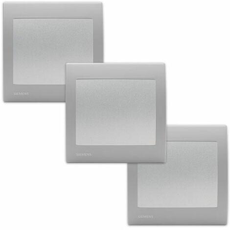 Lot de 3 Va et Vient Silver Delta Iris + Plaque basic Silver - SIEMENS