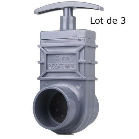 Lot de 3 vannes guillotines PVC 40 mm pour bassin de jardin et étang