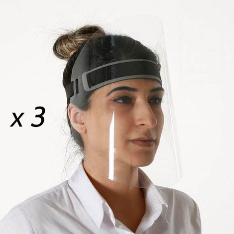 Lot de 3 visières de protection visage réglable anti-projections