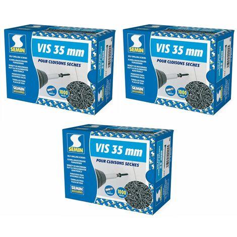 Lot de 3 x 1000 vis auto perceuse Semin pour la fixation des plaques de plâtre sur l'ossature - intérieur - 35 mm x 3.5 mm