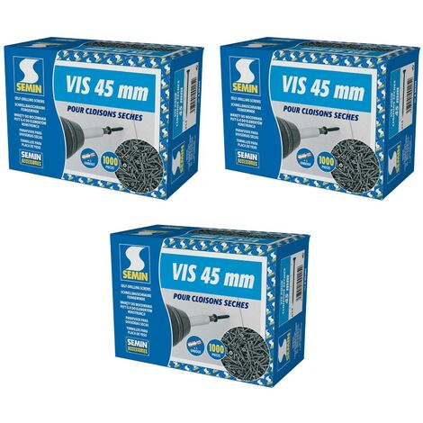 Lot de 3 x 1000 vis auto perceuse Semin pour la fixation des plaques de plâtre sur l'ossature - intérieur - 45 mm x 3.5 mm