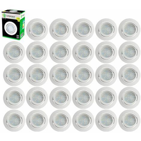Lot de 30 Spot Led Encastrable Complete Blanc Orientable lumière Blanc Chaud eq. 50W ref.193
