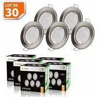 LOT DE 30 SPOT LED ENCASTRABLE COMPLETE RONDE FIXE ALU BROSSE eq. 50W