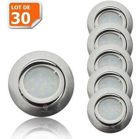 Lot de 30 Spot Led Encastrable Complete Satin Orientable lumière Blanc Neutre eq. 50W ref.895