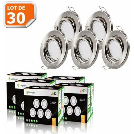LOT DE 30 SPOT LED ENCASTRABLE ORIENTABLE ALU BROSSE AVEC AMPOULE GU10 230V eq. 50W, BLANC CHAUD