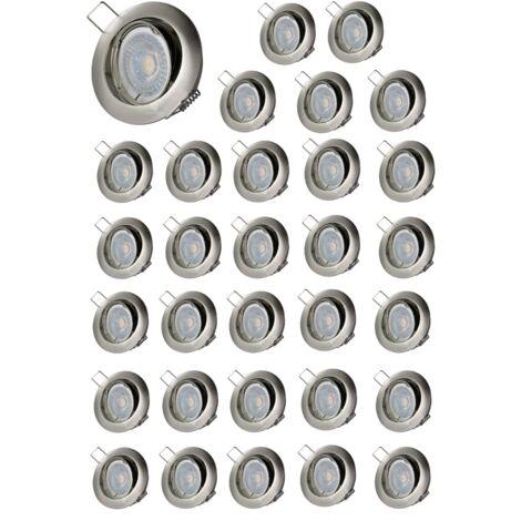 LOT DE 30 SPOT LED ORIENTABLE ALU BROSSE 230V 38° BLANC CHAUD ref.6002SN