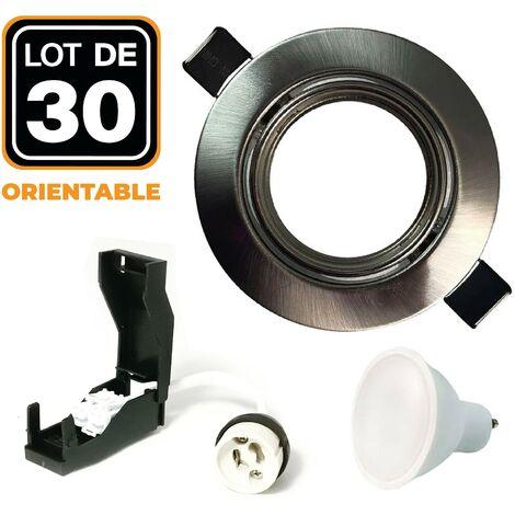 30 Spots encastrable orientable Alu Brossé avec GU10 LED de 7W eqv. 56W Blanc Froid 6000K