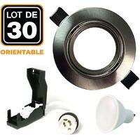 Lot de 30 Spots encastrable orientable INOX avec GU10 LED de 7W eqv. 56W