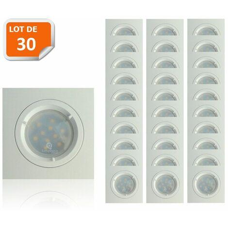 Lot de 30 Spots Led Blanc Carré lumière Blanc Neutre 5W eq. 50W ref.464