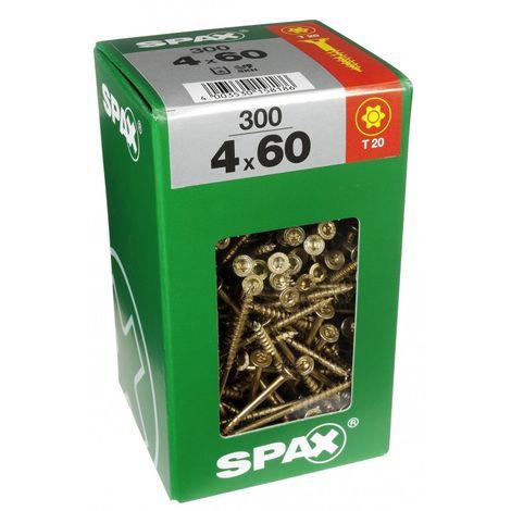 Lot de 300 vis acier tête fraisée torx SPAX, TF TX 4x60 WIROX