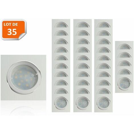 Lot de 35 Spot Led Encastrable Carré Blanc Orientable lumière Blanc Chaud 5W eq. 50W ref.404