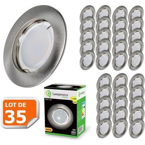 Lot de 35 Spot Led Encastrable Complete Alu Brossé Lumière Blanc Neutre 5W eq.50W ref.787
