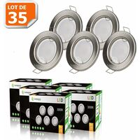 LOT DE 35 SPOT LED ENCASTRABLE COMPLETE RONDE FIXE ALU BROSSE eq. 50W BLANC CHAUD