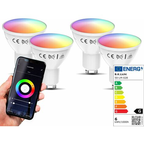 Lot de 4 ampoules LED connectées GU10 choix de couleurs RVB CCT dimmables commande vocale par Appli compatibles Alexa Google Home 5,5W