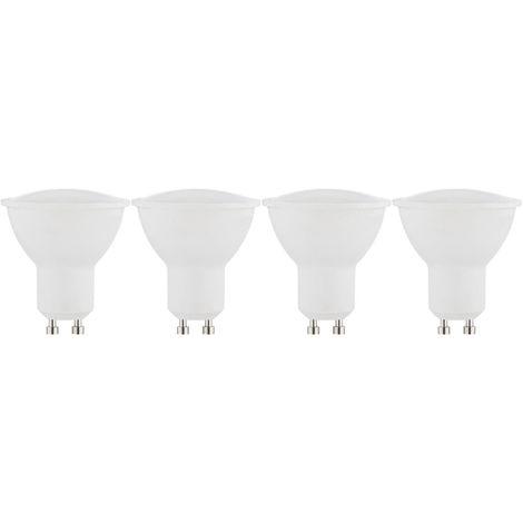 LOT DE 4 AMPOULES LED GU10 - 5W - BLANC CHAUD