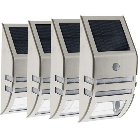 Lot de 4 Appliques solaires Led à détecteur de mouvement gris 50 LM