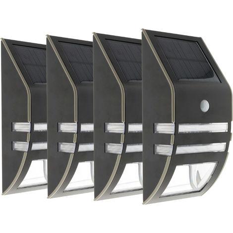 Lot de 4 Appliques solaires Led à détecteur de mouvement noir 50 LM