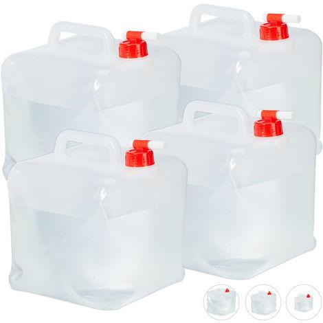 Lot de 4 bidons pliants, robinet, bouchon à vis, poignée, eau, camping, 10 litres, transparent/rouge