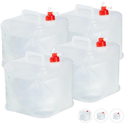 Lot de 4 bidons pliants, robinet, bouchon à vis, poignée, eau, camping, 15 litres, transparent/rouge