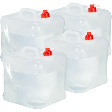 Lot de 4 bidons pliants, robinet, bouchon à vis, poignée, eau, camping, 20 litres, transparent/rouge
